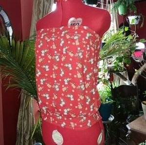 Cute Red Floral Strapless Smocked Top